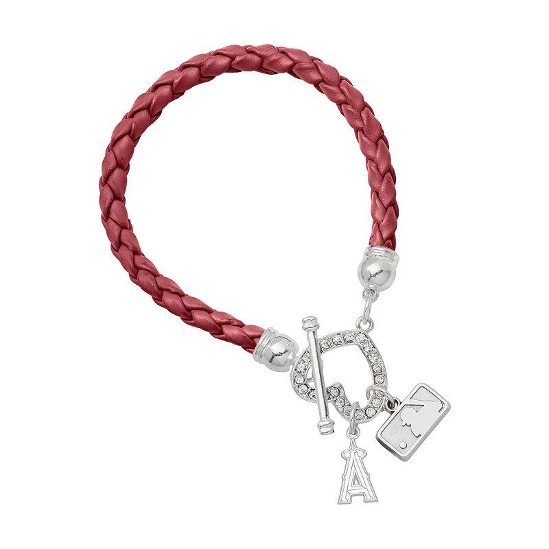Anaheim Angels Devotion Silver Tone Crystal Charm Bracelet