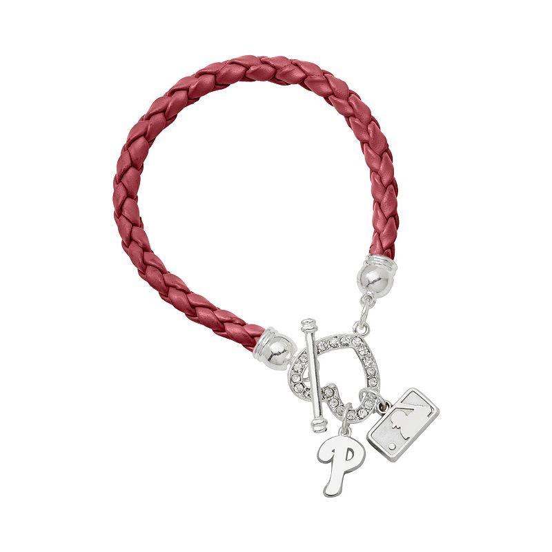 LogoArt Philadelphia Phillies Devotion Silver Tone Crystal Charm Bracelet