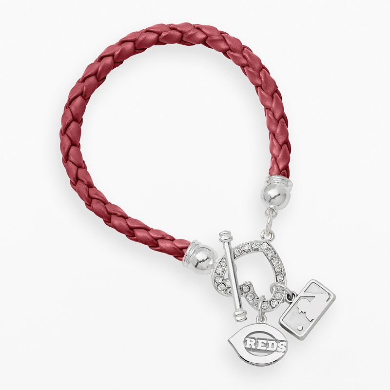 LogoArt Cincinnati Reds Devotion Silver Tone Crystal Charm Bracelet