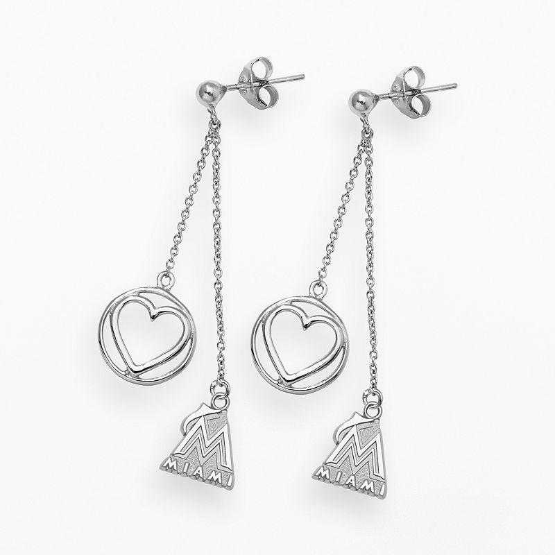 LogoArt Miami Marlins Beloved Sterling Silver Linear Drop Earrings
