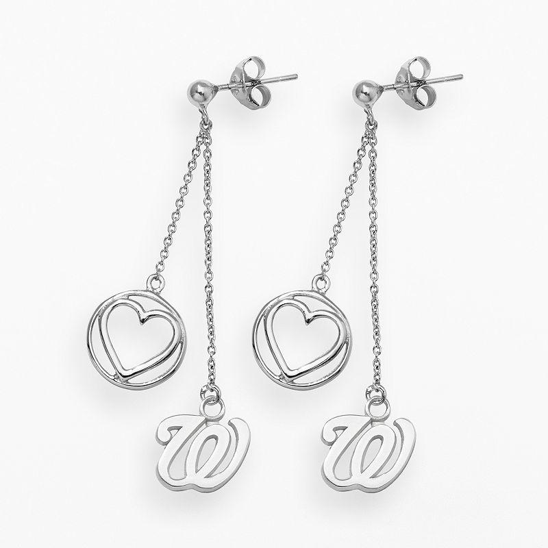 LogoArt Washington Nationals Beloved Sterling Silver Linear Drop Earrings