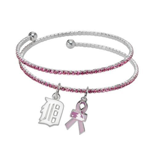LogoArt Detroit Tigers Silver Tone Crystal Breast Cancer Awareness Charm Coil Bracelet