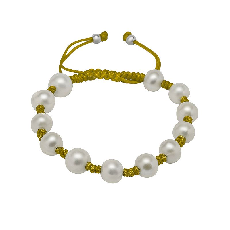 Silver Tone Freshwater Cultured Pearl Cord Bracelet