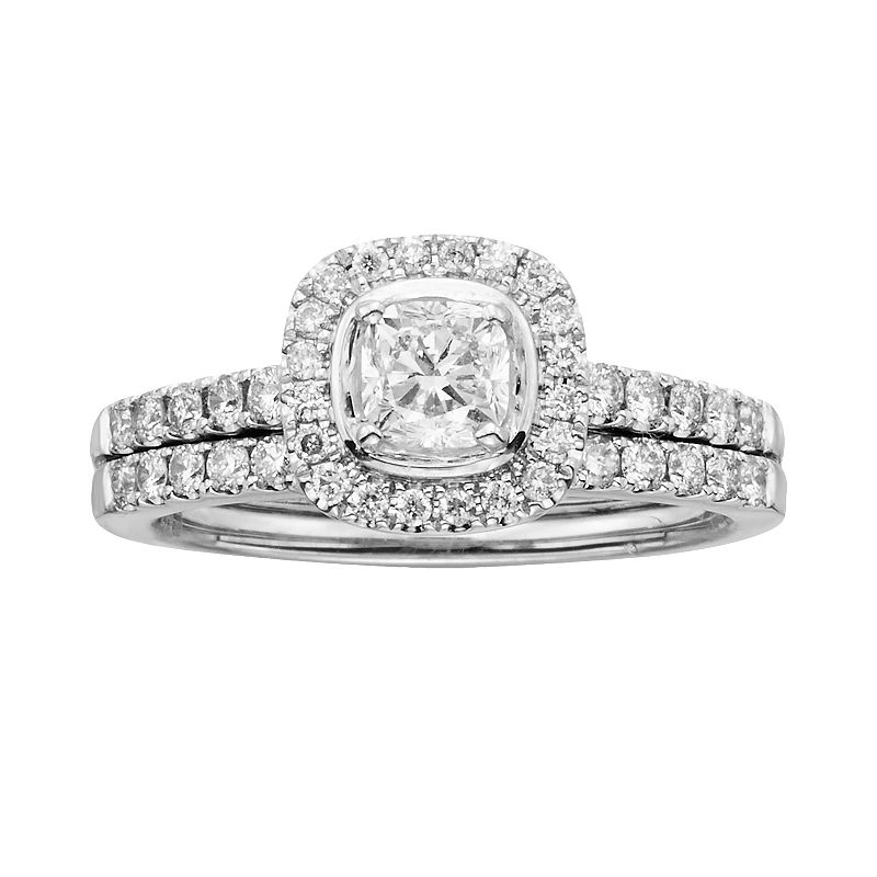 14k White Gold 1-ct. T.W. Cushion-Cut IGL Certified Diamond Frame Ring Set