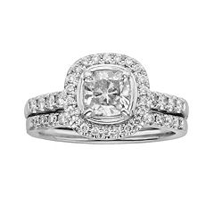 14k White Gold 1 1/2-ct. T.W. Cushion-Cut IGL Certified Diamond Frame Ring Set by