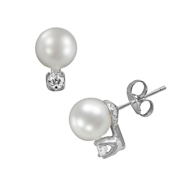 18k White Gold 1/6-ct. T.W. Diamond and AAA Akoya Cultured Pearl Stud Earrings
