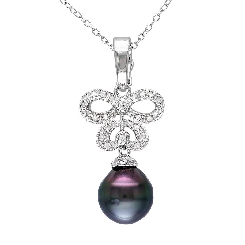 Sterling Silver 1/7-ct. T.W. Diamond and Tahitian Cultured Pearl Openwork Pendant