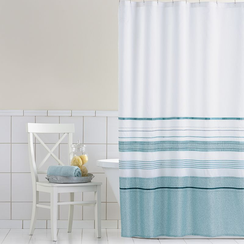 Home Classics Shimmer Blue Fabric Shower Curtain White