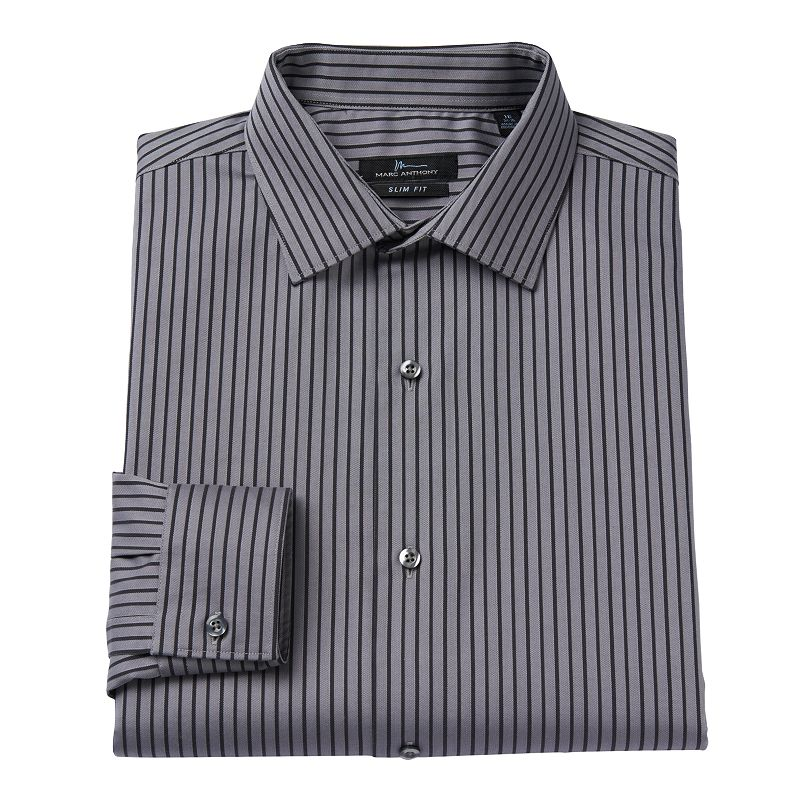 Men's Marc Anthony Slim-Fit Texture Easy-Care Striped Spread-Collar Dress Shirt