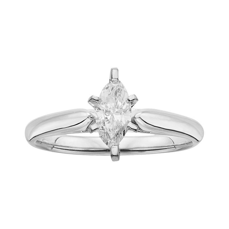 14k White Gold 1/2-ct. T.W. Marquise-Cut IGL Certified Diamond Solitaire Ring