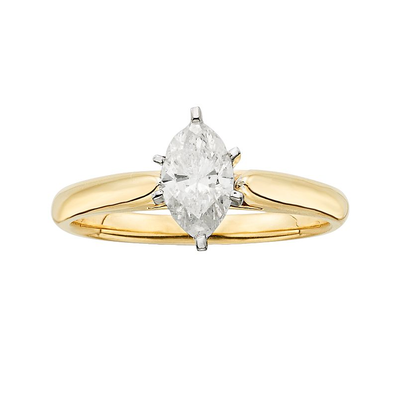 14k Gold 3/4-ct. T.W. Marquise-Cut IGL Certified Diamond Solitaire Ring