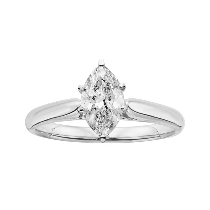 14k White Gold 1-ct. T.W. Marquise-Cut IGL Certified Diamond Solitaire Ring