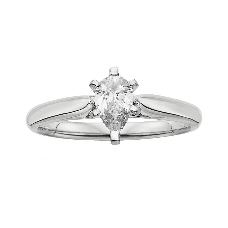 14k White Gold 1/2-ct. T.W. Pear-Cut IGL Certified Diamond Solitaire Ring