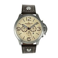 Peugeot Men's Automatic Leather Skeleton Watch - MK912TBR