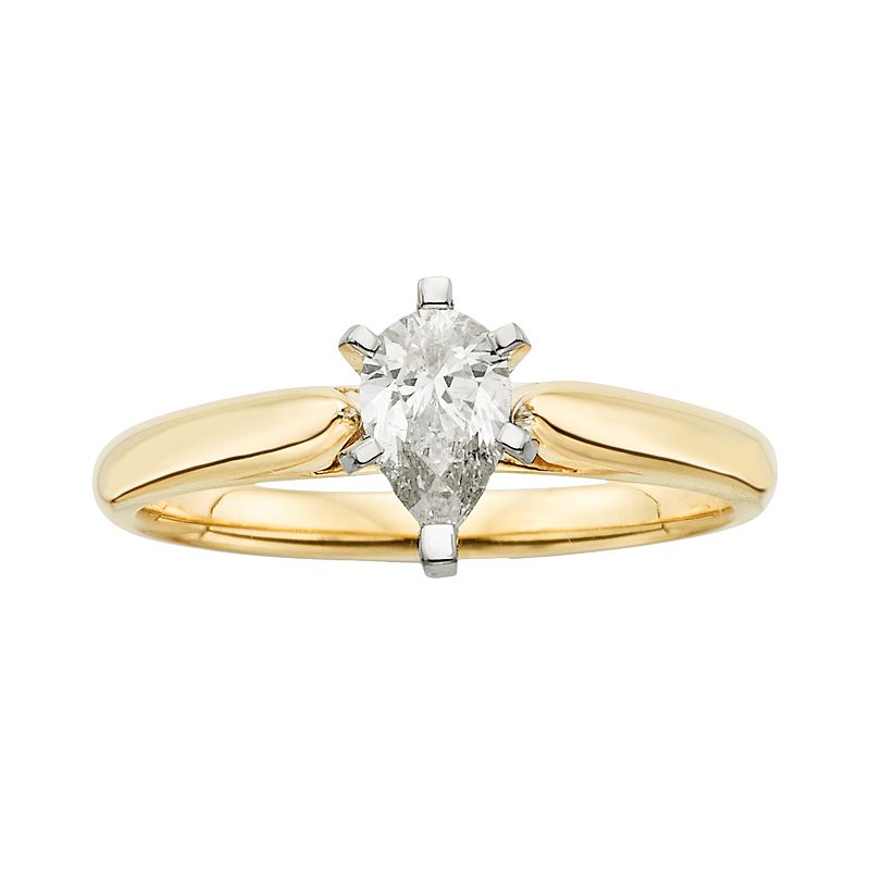14k Gold 1/2-ct. T.W. Pear-Cut IGL Certified Diamond Solitaire Ring