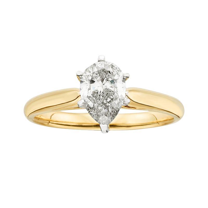 14k Gold 3/4-ct. T.W. Pear-Cut IGL Certified Diamond Solitaire Ring