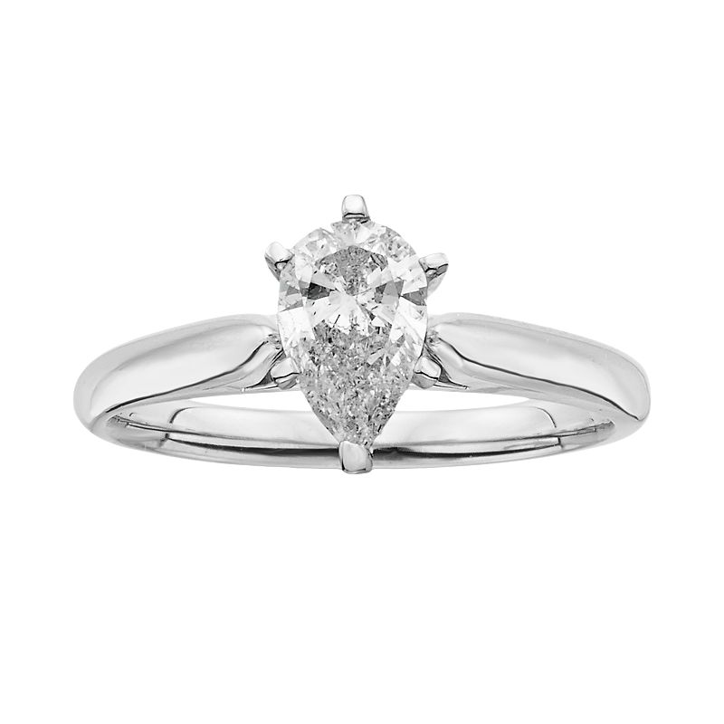 14k White Gold 1-ct. T.W. Pear-Cut IGL Certified Diamond Solitaire Ring
