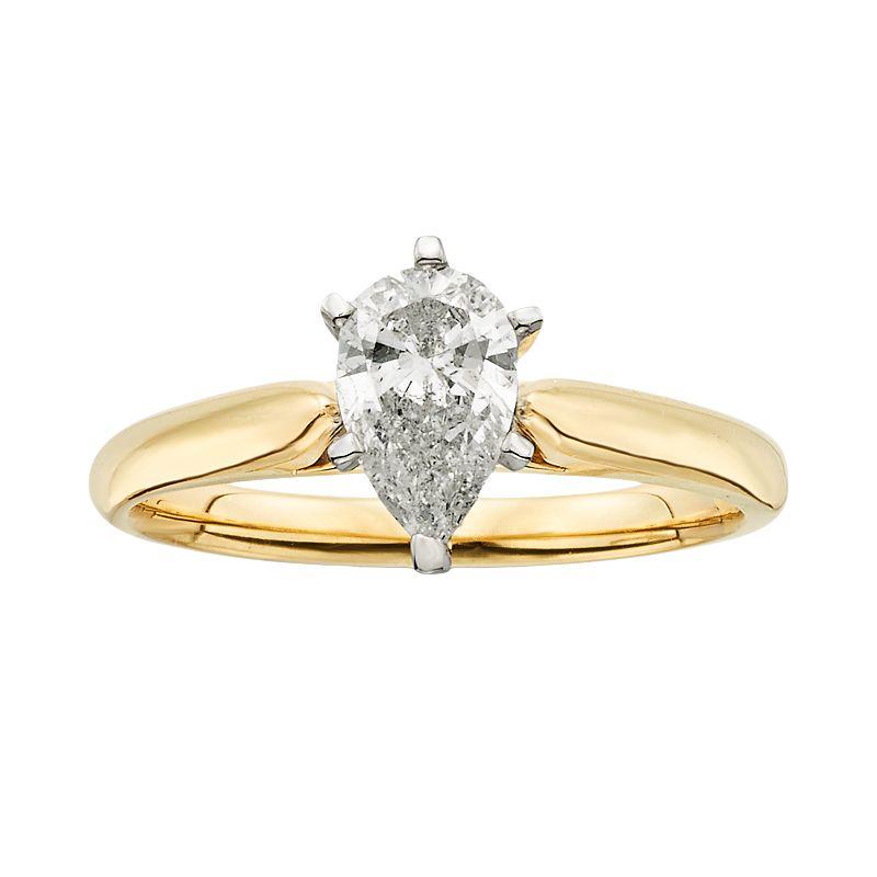 14k Gold 1-ct. T.W. Pear-Cut IGL Certified Diamond Solitaire Ring