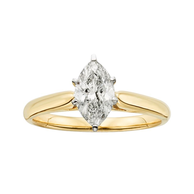 14k Gold 1-ct. T.W. Marquise-Cut IGL Certified Diamond Solitaire Ring