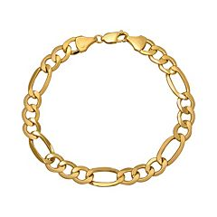 Everlasting Gold 10k Gold Figaro Bracelet Men by