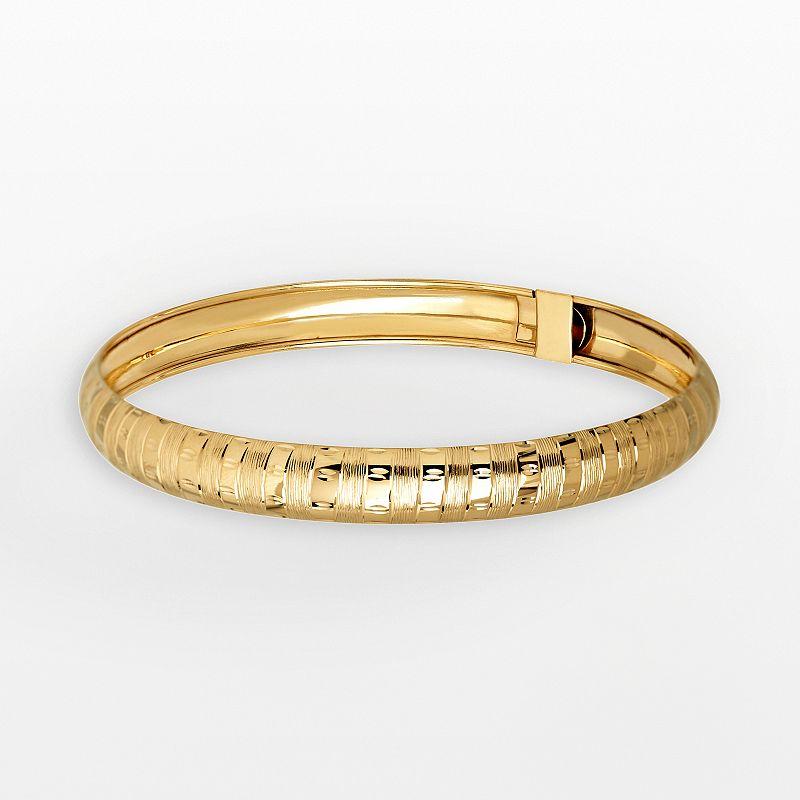 Everlasting Gold 14k Gold Striped Bangle Bracelet