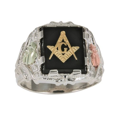 Black Hills Gold Four Tone Onyx Masonic Ring in Sterling Silver - Men