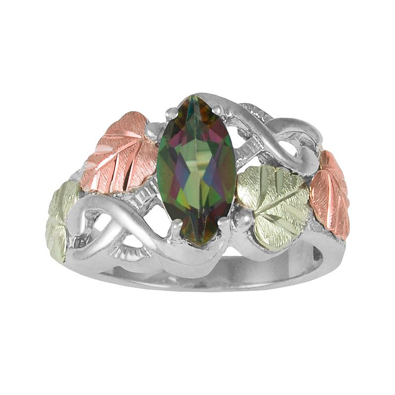 12k Gold and Sterling Silver Tri-Tone Mystic Fire Topaz Leaf Openwork Ring