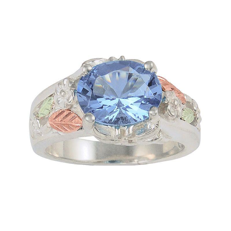 Black Hills Gold Tri-Tone Lab-Created Indigo Helenite Flower & Leaf Ring in Sterling Silver