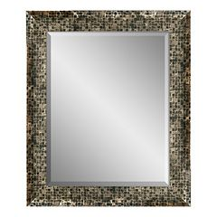 Checkered Framed Beveled Wall Mirror by