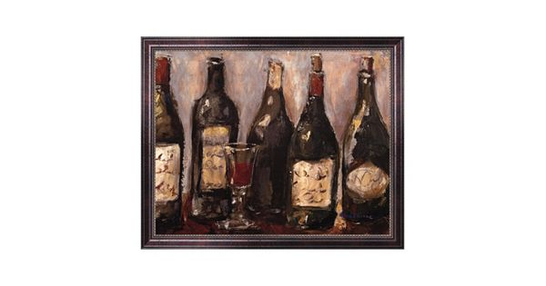 Wine Bar With French Glass Framed Canvas Wall Art By