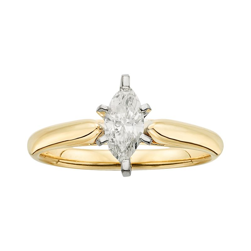 14k Gold 1/2-ct. T.W. IGL Certified Marquise-Cut Diamond Solitaire Ring
