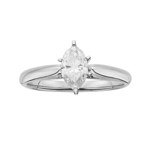 14k White Gold 3/4-ct. T.W. IGL Certified Marquise-Cut Diamond Solitaire Ring