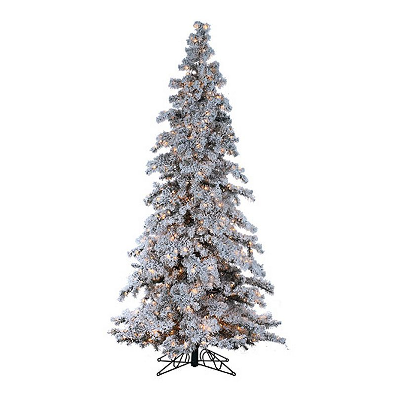 Sterling 9 ft Clear Pre Lit Flocked Spruce Artificial Christmas Tree - Indoor