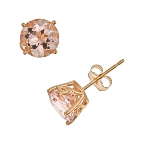 14k Gold Morganite Stud Earrings