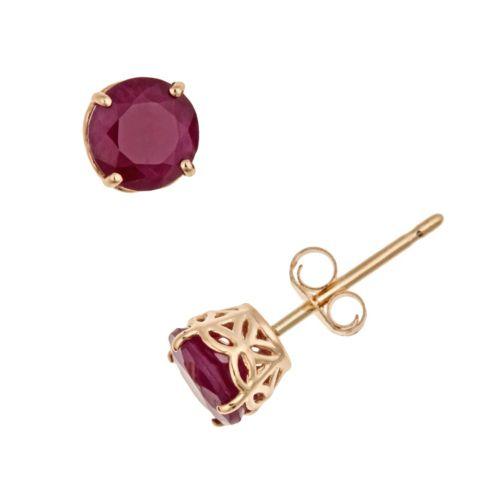14k Gold Ruby Stud Earrings