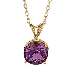 14k Gold African Amethyst Pendant by