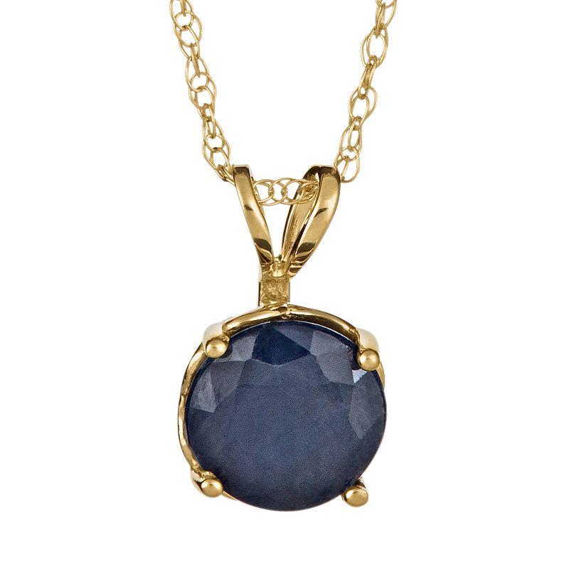 14k Gold Sapphire Pendant