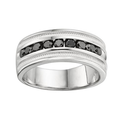 Sterling Silver 1-ct. T.W. Black Diamond Ring - Men
