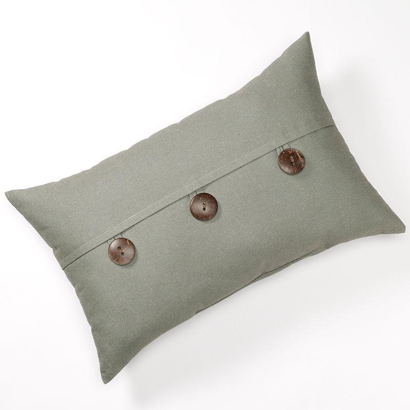 Linen Button Decorative Pillow - 15'' x 24''