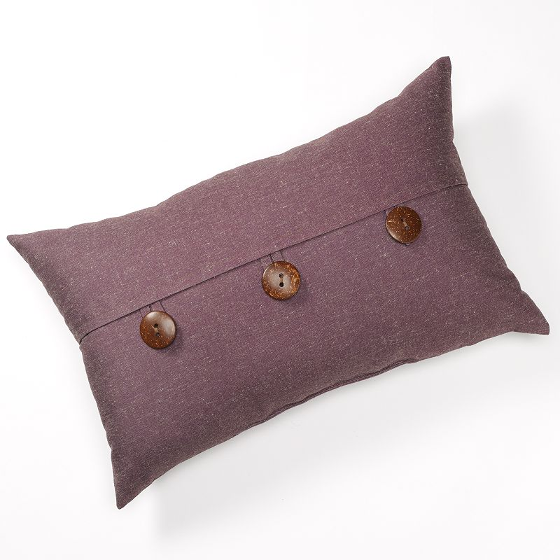 Linen Button Decorative Pillow - 15'' x 24''