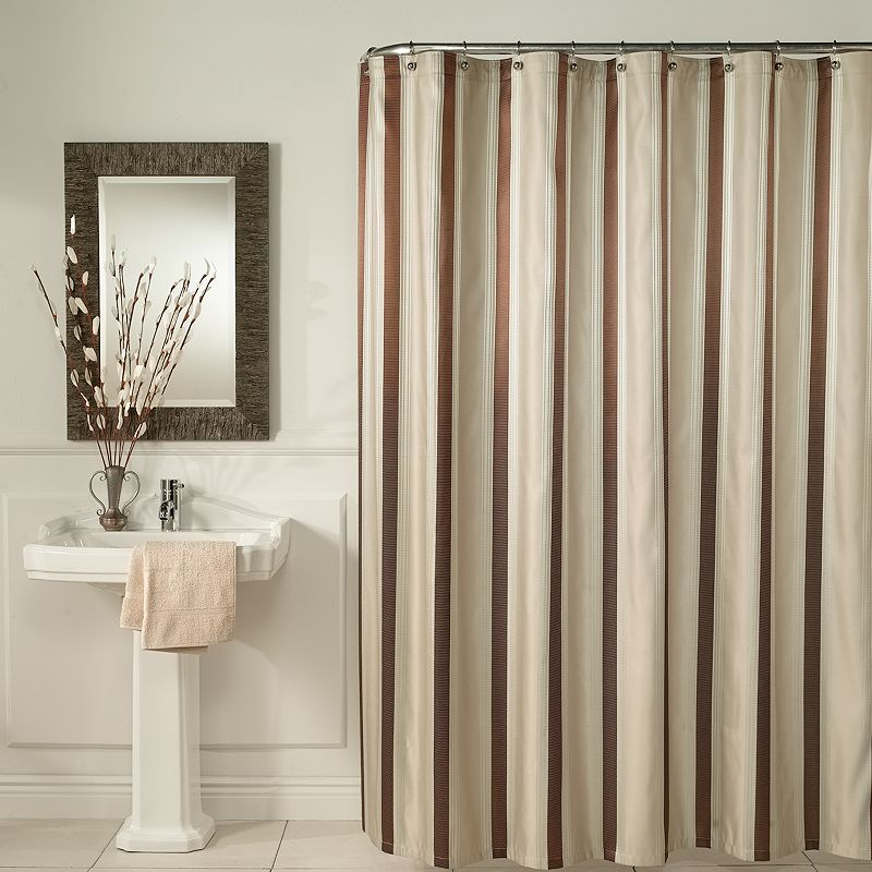 m.style Hudson Stripe Fabric Shower Curtain