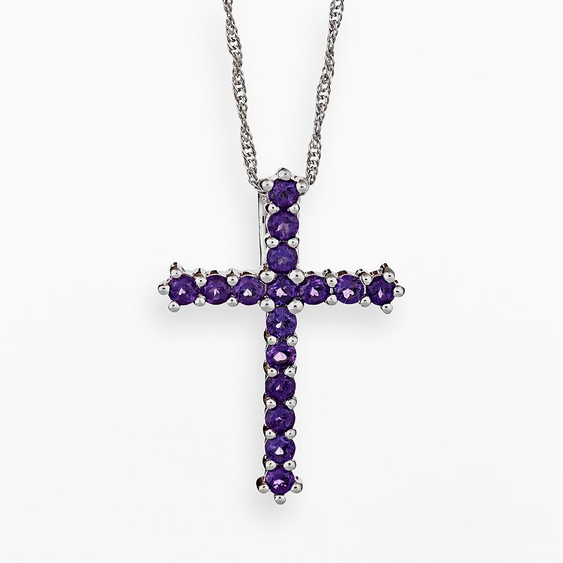 Sterling Silver African Amethyst Cross Pendant
