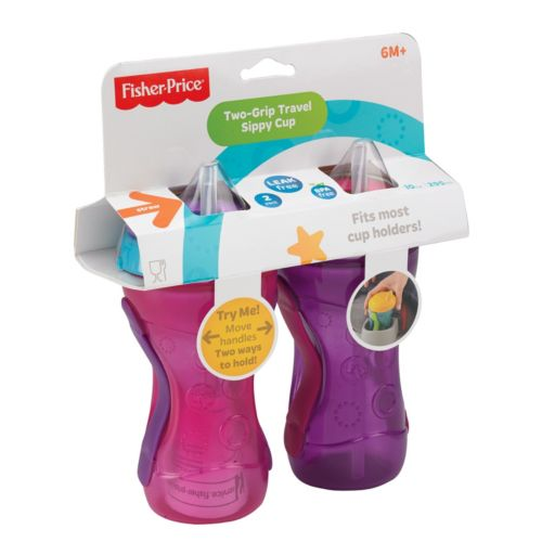 Fisher-Price 2-pk. Two-Grip Travel Straw Sippy Cups - Girl