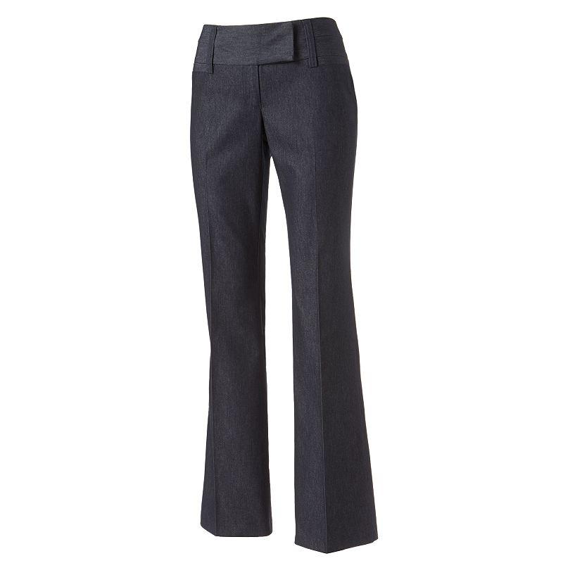 Juniors' Stooshy Wide Fit Bootcut Dress Pants
