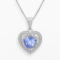 Sterling Silver Tanzanite & 1/10-ct. T.W. Diamond Heart Pendant by