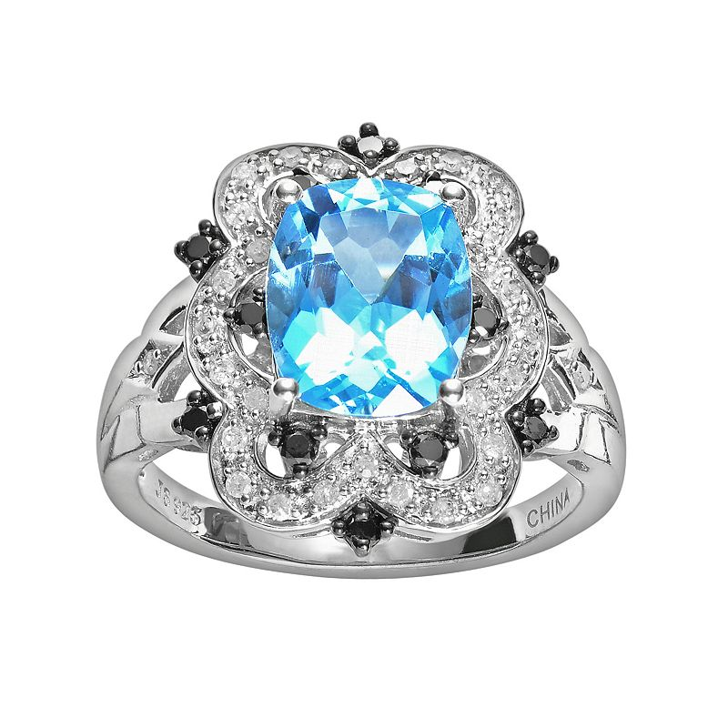 Sterling Silver London Blue Topaz and 1/3-ct. T.W. Black and White Diamond Ring