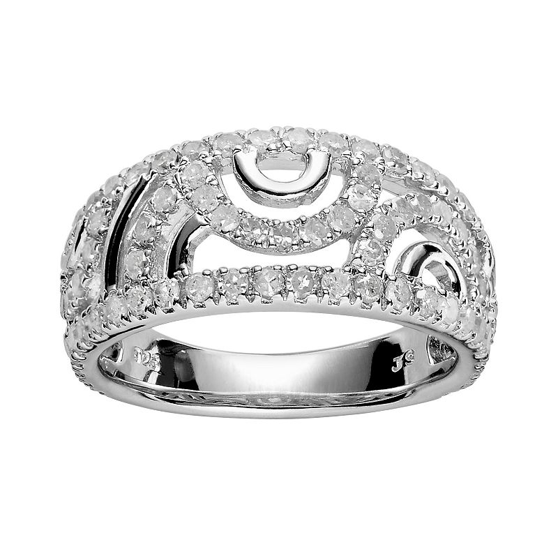 Sterling Silver 1-ct. T.W. Diamond Ring