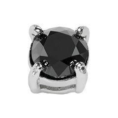 Stainless Steel 1 2-ct. T.W. Black Diamond Stud Earring