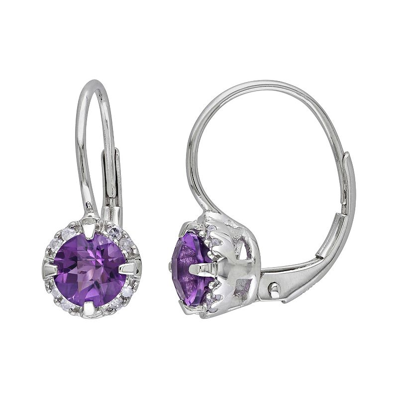 10k White Gold Amethyst and Diamond Accent Frame Drop Earrings
