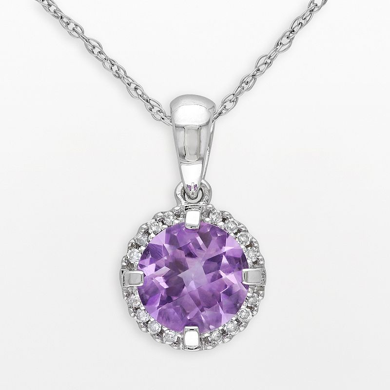 10k White Gold Amethyst and Diamond Accent Frame Pendant